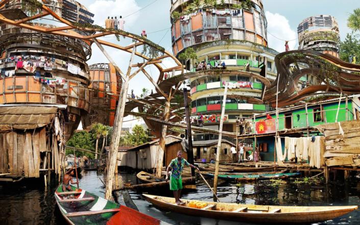 L'artista nigeriano Olalekan Jeyifous immagina la città di Lagos nel 2050
